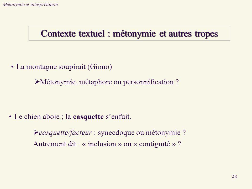 Contexte textuel : métonymie et autres tropes