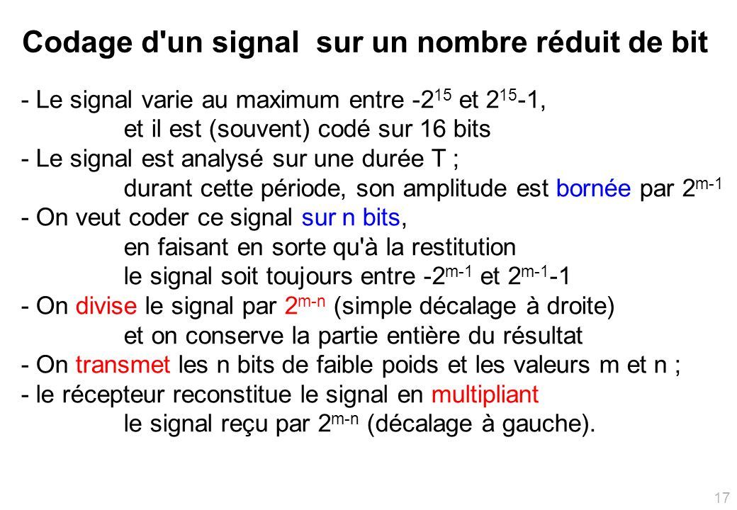 Codage d un signal sur un nombre réduit de bit