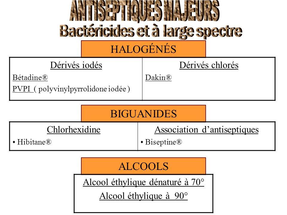 ANTISEPTIQUES MAJEURS Bactéricides et à large spectre