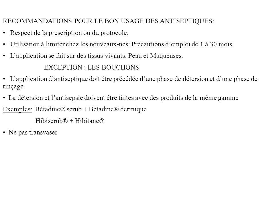 RECOMMANDATIONS POUR LE BON USAGE DES ANTISEPTIQUES: