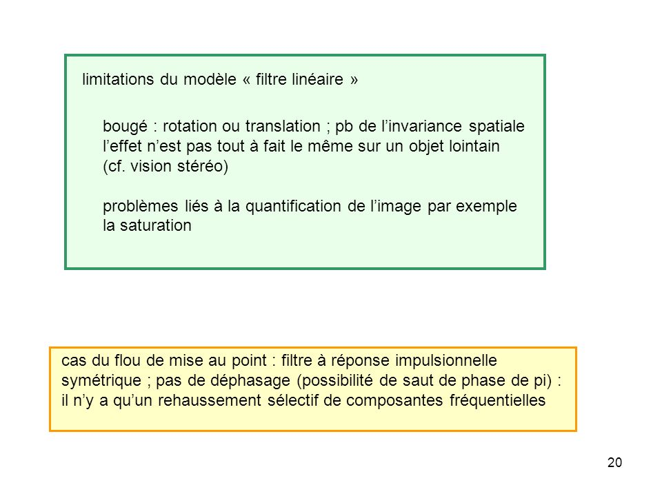 limitations du modèle « filtre linéaire »