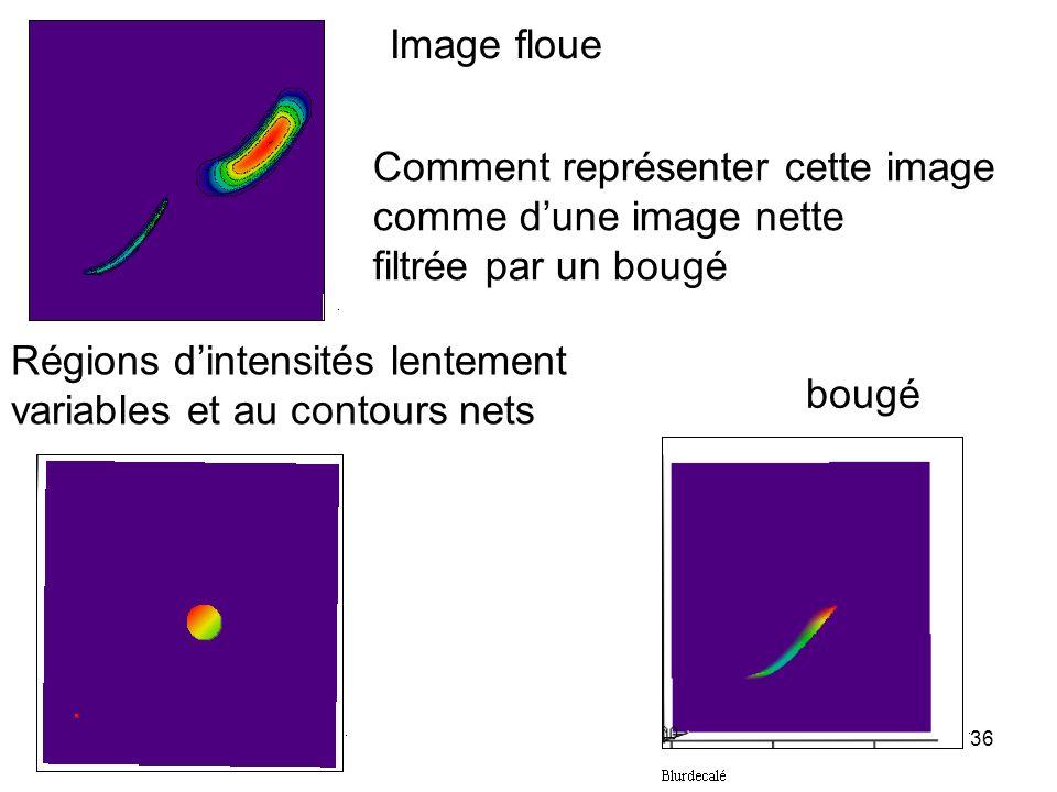 Image floue Comment représenter cette image. comme d'une image nette. filtrée par un bougé. Régions d'intensités lentement.