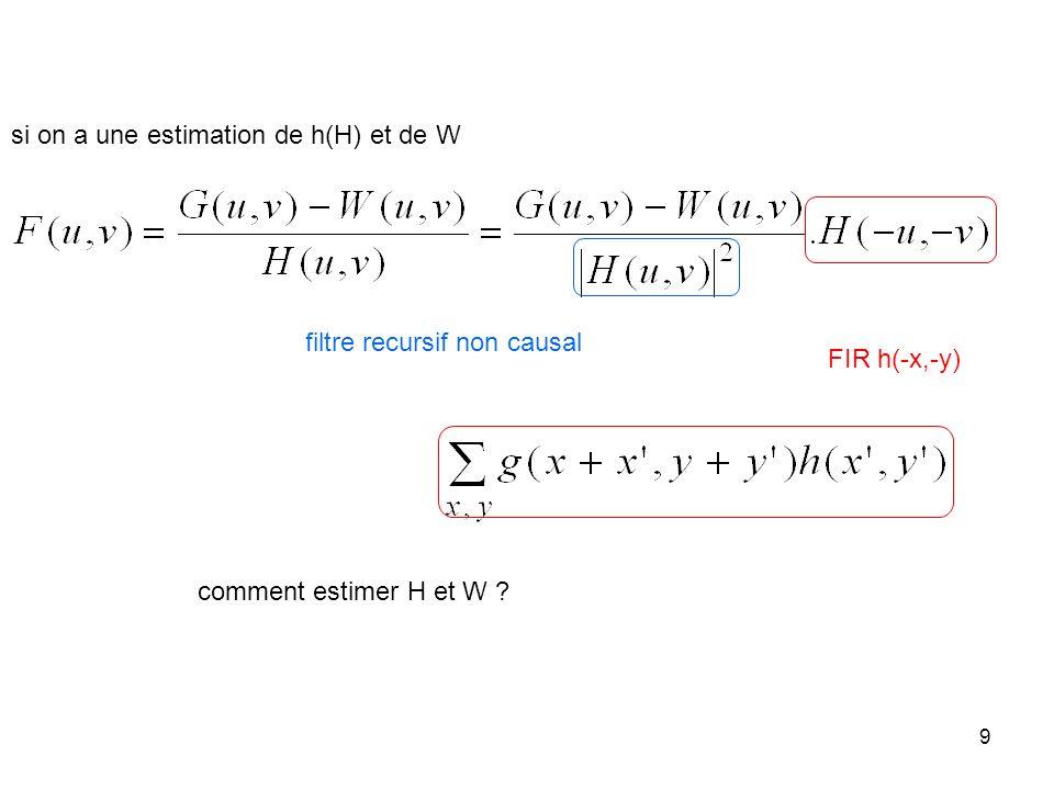 si on a une estimation de h(H) et de W