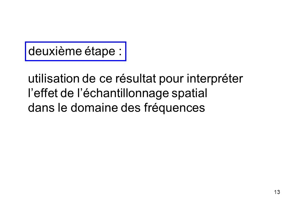 deuxième étape : utilisation de ce résultat pour interpréter. l'effet de l'échantillonnage spatial.