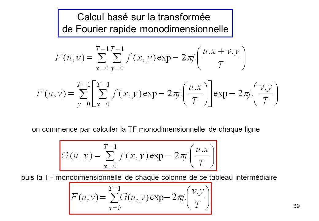 Calcul basé sur la transformée de Fourier rapide monodimensionnelle