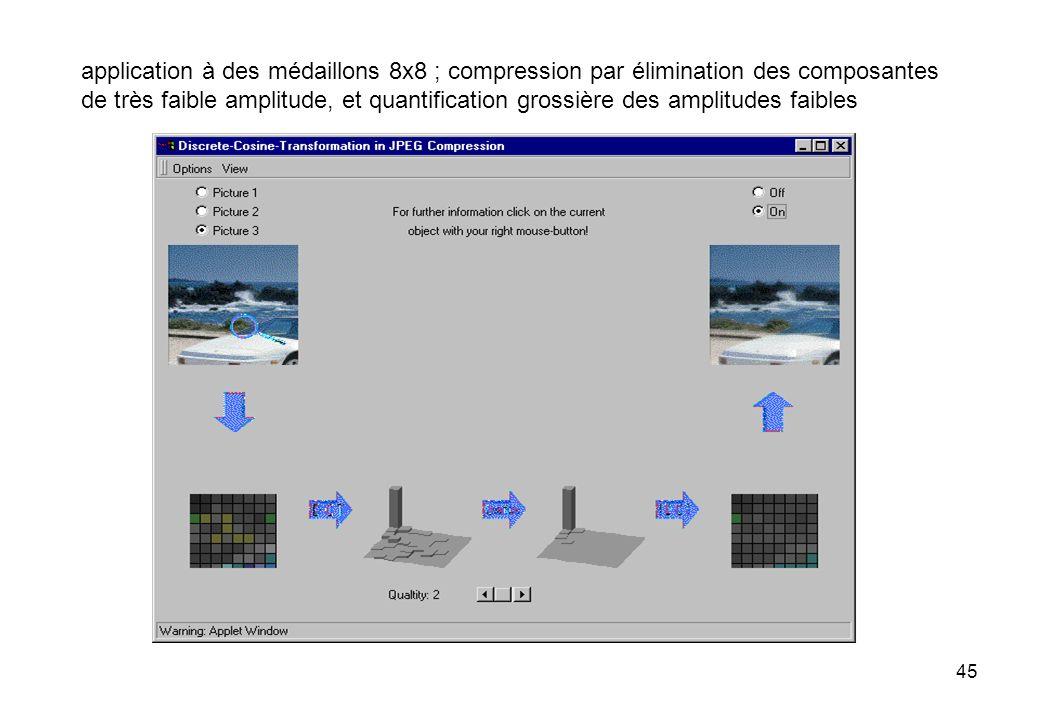 application à des médaillons 8x8 ; compression par élimination des composantes