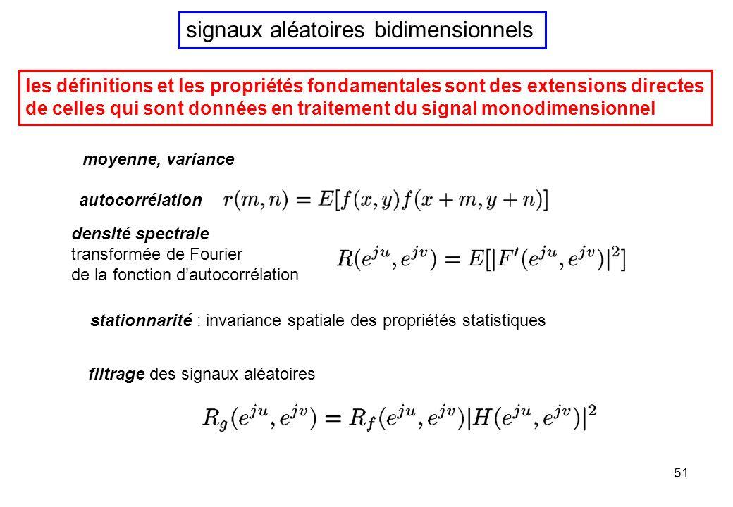 signaux aléatoires bidimensionnels