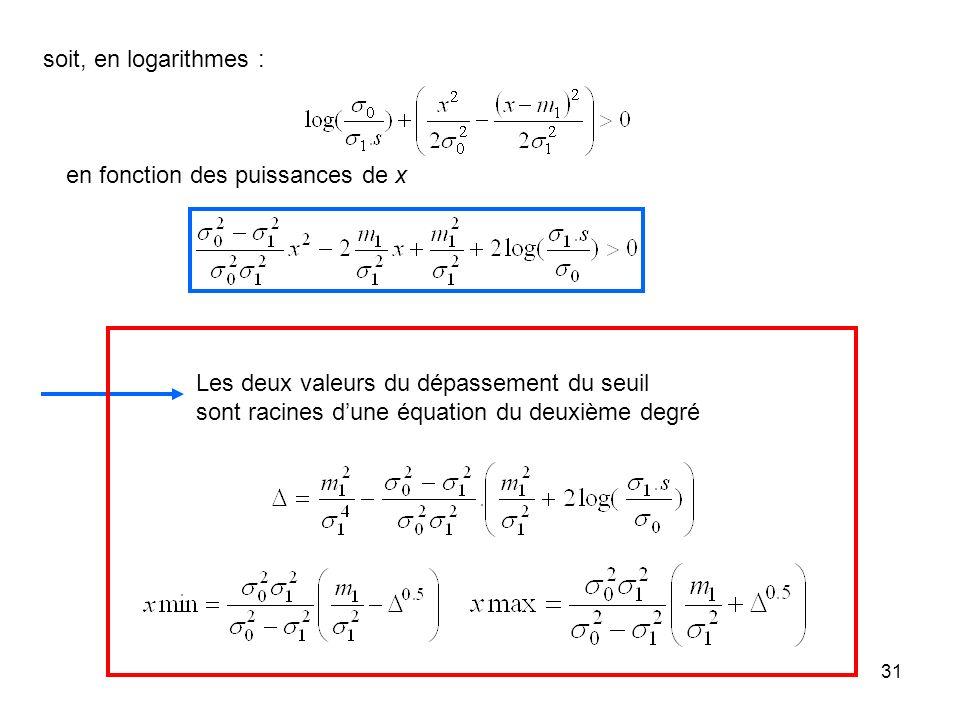 soit, en logarithmes :en fonction des puissances de x.