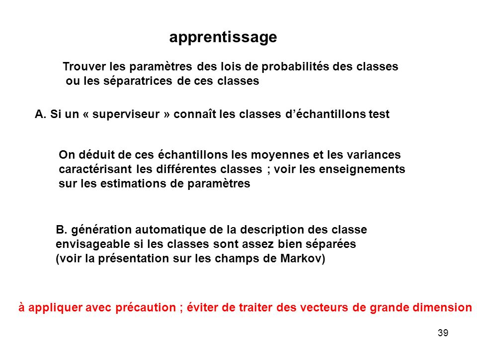 apprentissage Trouver les paramètres des lois de probabilités des classes. ou les séparatrices de ces classes.