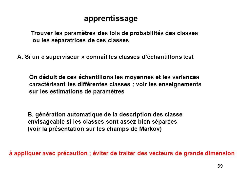 apprentissageTrouver les paramètres des lois de probabilités des classes. ou les séparatrices de ces classes.