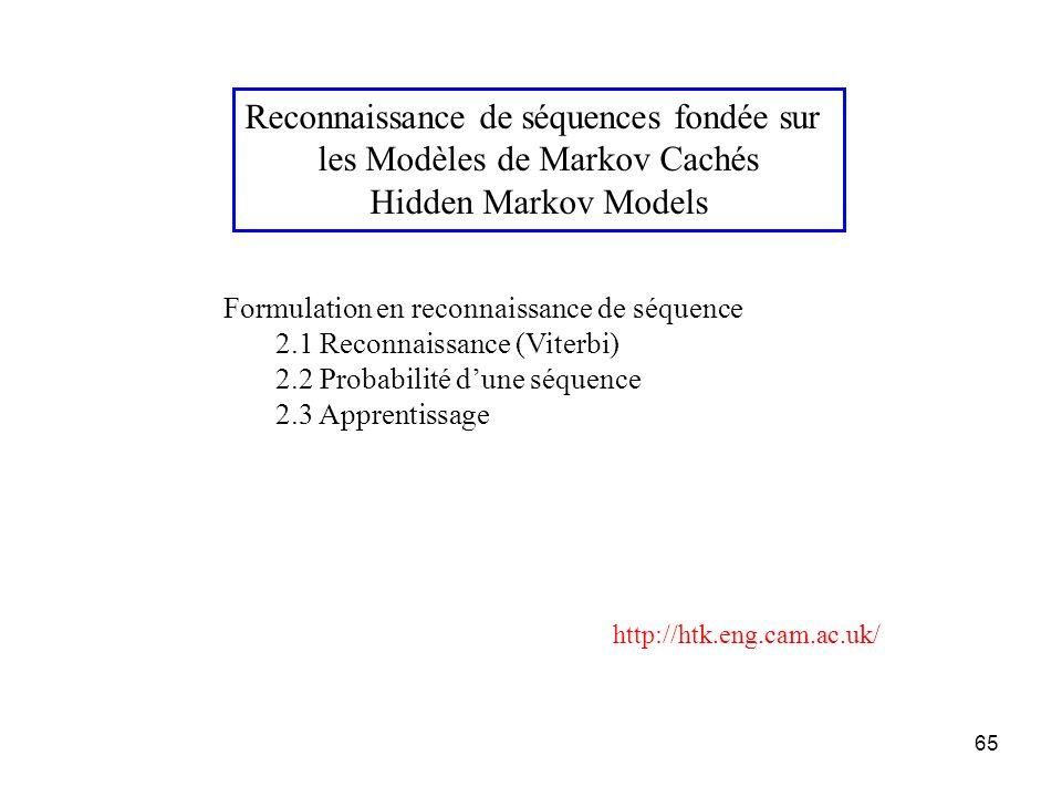 Reconnaissance de séquences fondée sur les Modèles de Markov Cachés