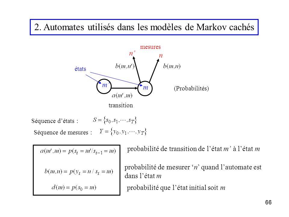 2. Automates utilisés dans les modèles de Markov cachés