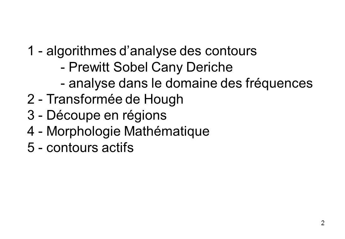 1 - algorithmes d'analyse des contours