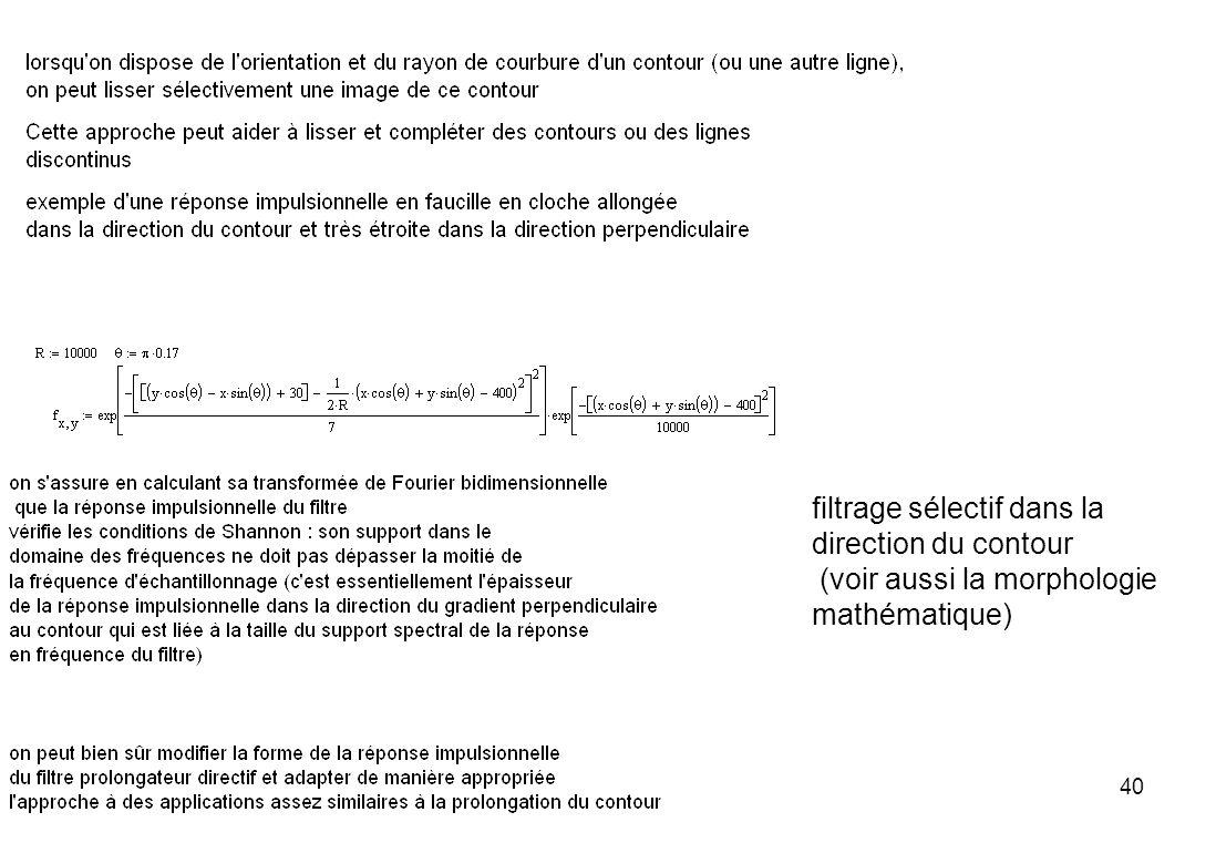 filtrage sélectif dans la direction du contour