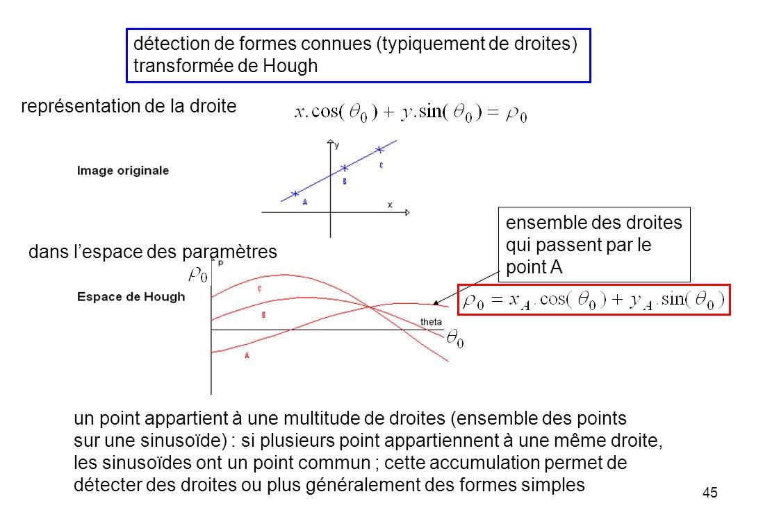détection de formes connues (typiquement de droites)