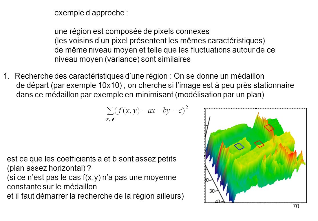 exemple d'approche : une région est composée de pixels connexes. (les voisins d'un pixel présentent les mêmes caractéristiques)