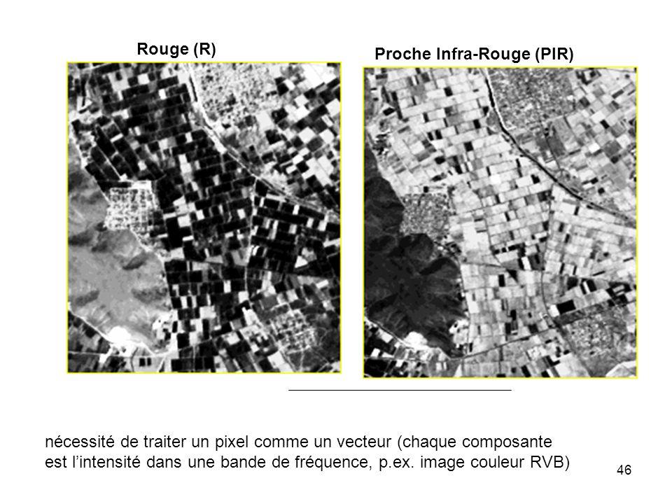 Rouge (R) Proche Infra-Rouge (PIR) nécessité de traiter un pixel comme un vecteur (chaque composante.