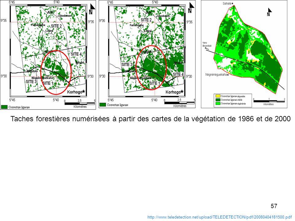 Taches forestières numérisées à partir des cartes de la végétation de 1986 et de 2000