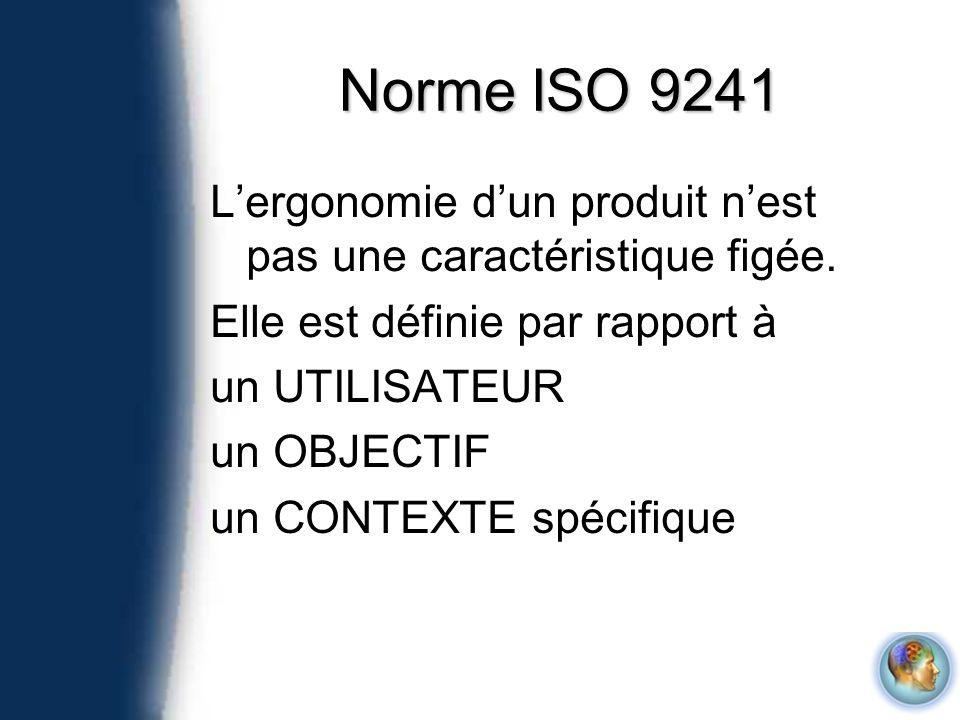 Norme ISO 9241 L'ergonomie d'un produit n'est pas une caractéristique figée. Elle est définie par rapport à.