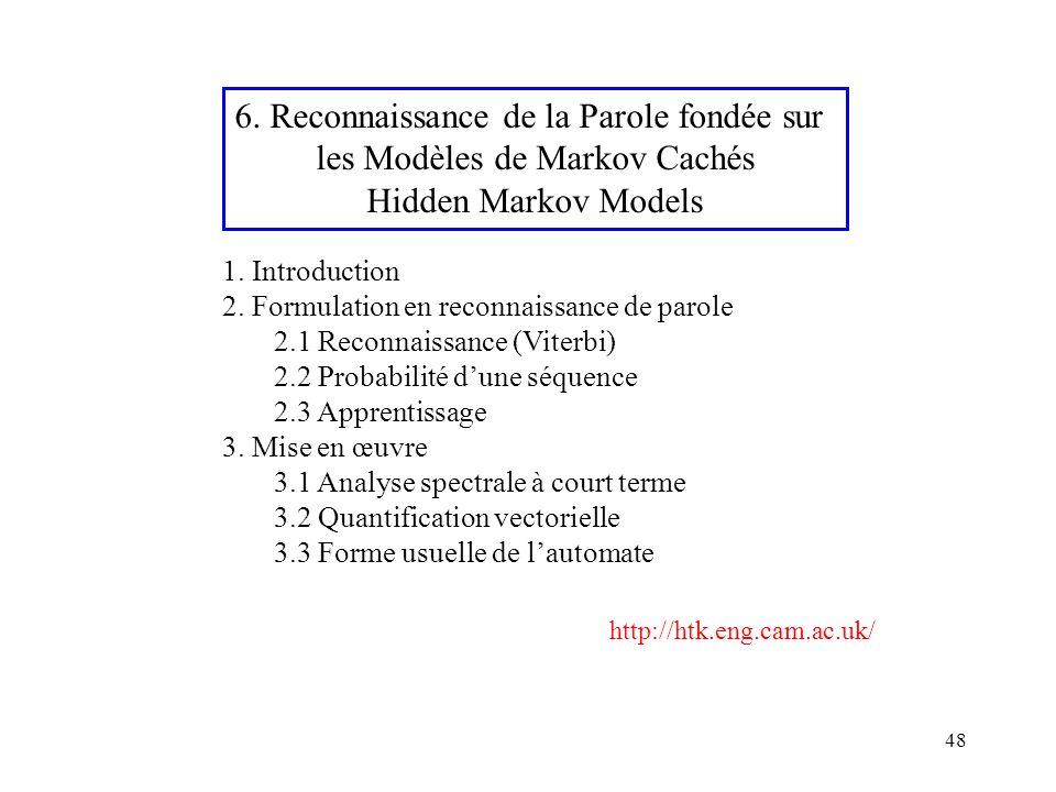 6. Reconnaissance de la Parole fondée sur les Modèles de Markov Cachés