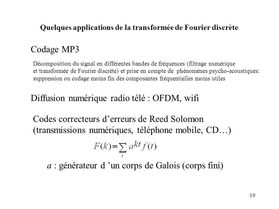 Diffusion numérique radio télé : OFDM, wifi