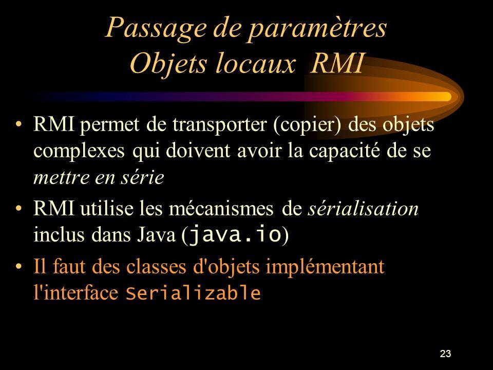 Passage de paramètres Objets locaux RMI