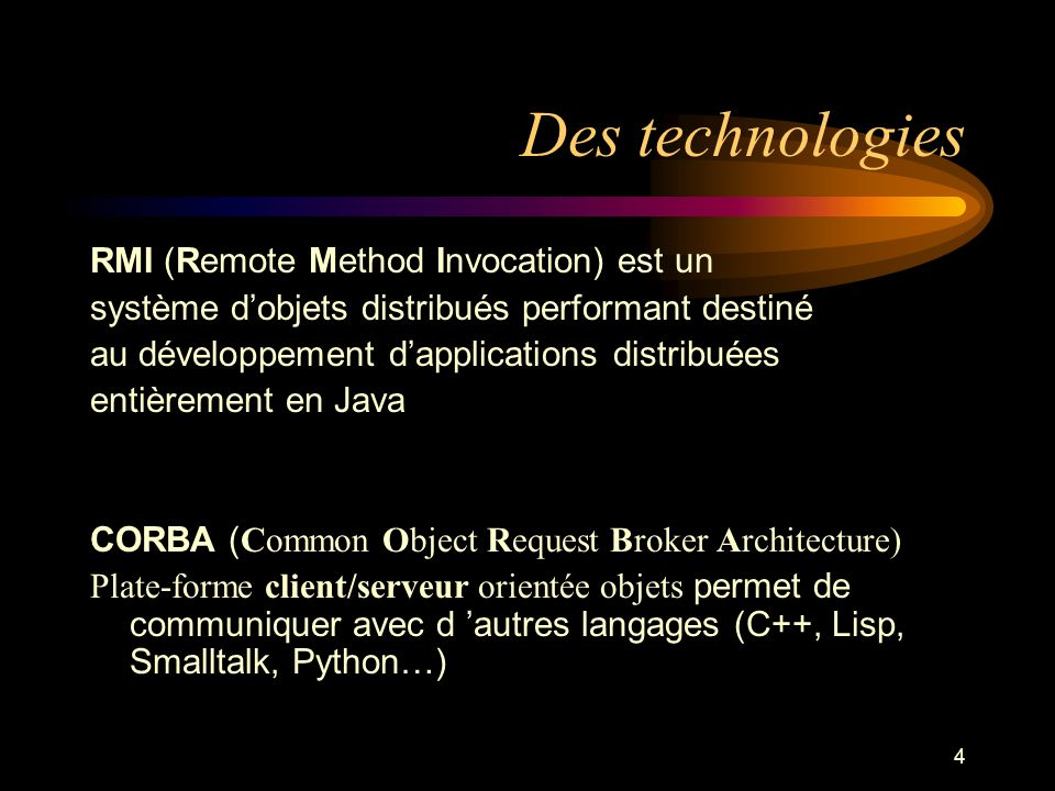 Des technologies RMI (Remote Method Invocation) est un