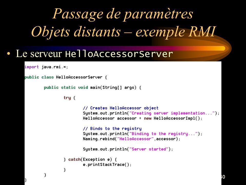Passage de paramètres Objets distants – exemple RMI