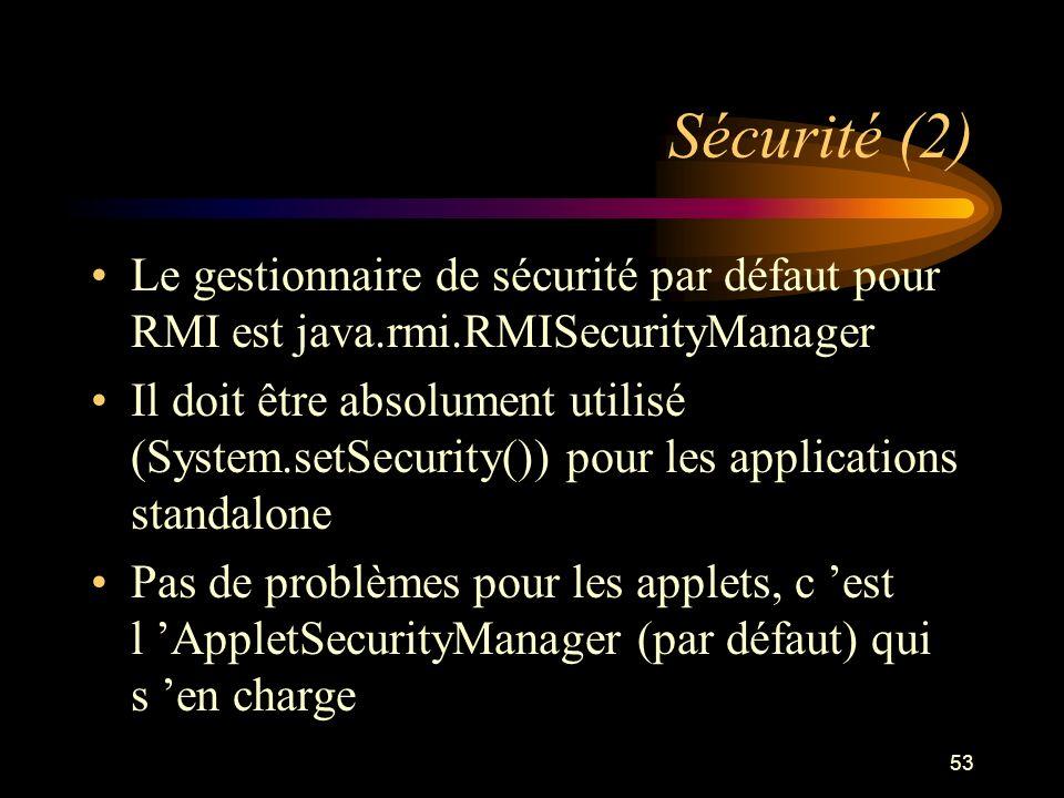 Sécurité (2) Le gestionnaire de sécurité par défaut pour RMI est java.rmi.RMISecurityManager.