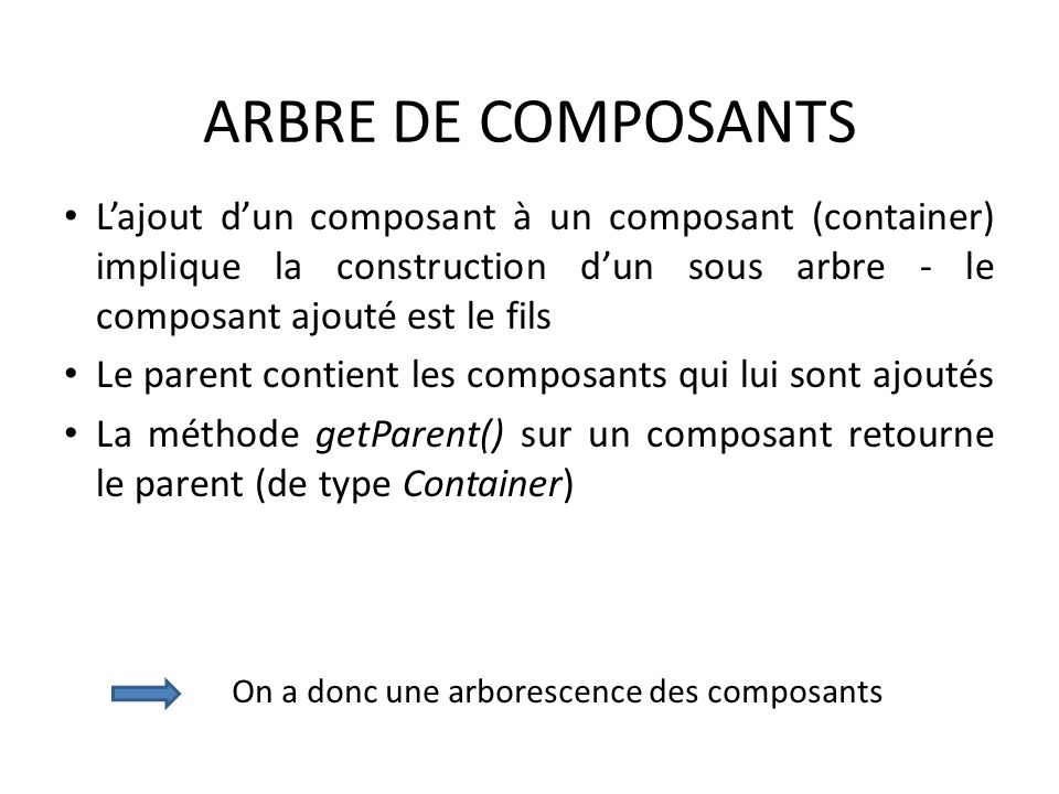 ARBRE DE COMPOSANTS L'ajout d'un composant à un composant (container) implique la construction d'un sous arbre - le composant ajouté est le fils.