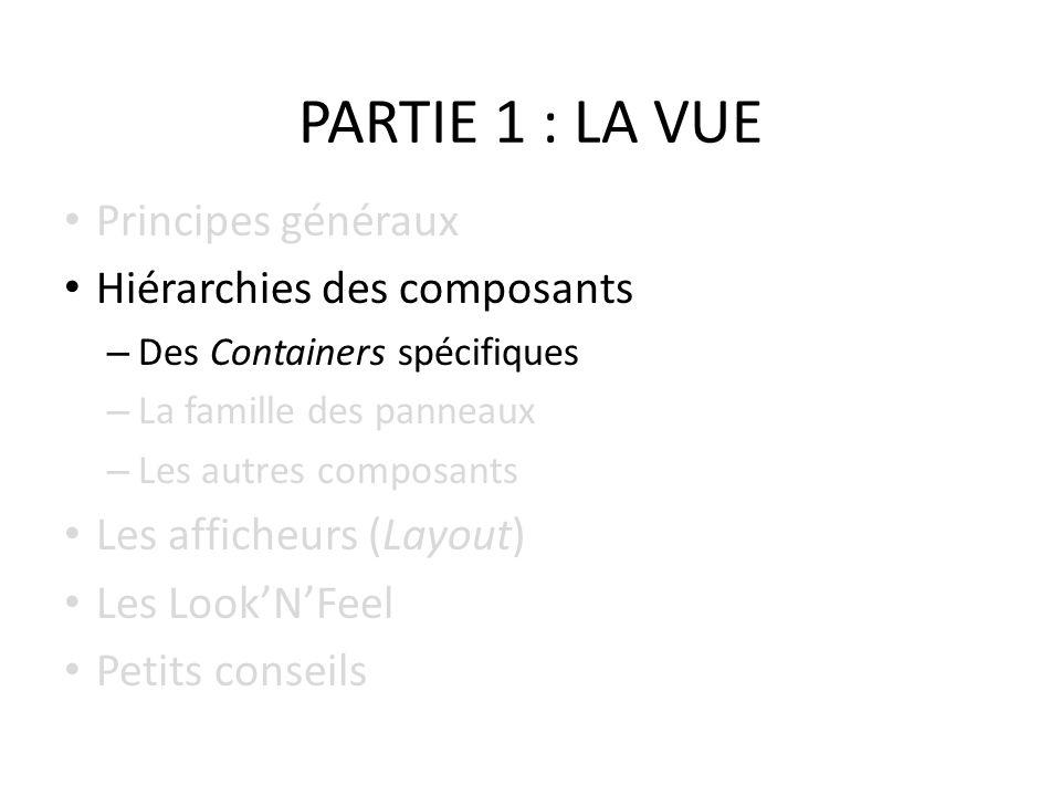 PARTIE 1 : LA VUE Principes généraux Hiérarchies des composants