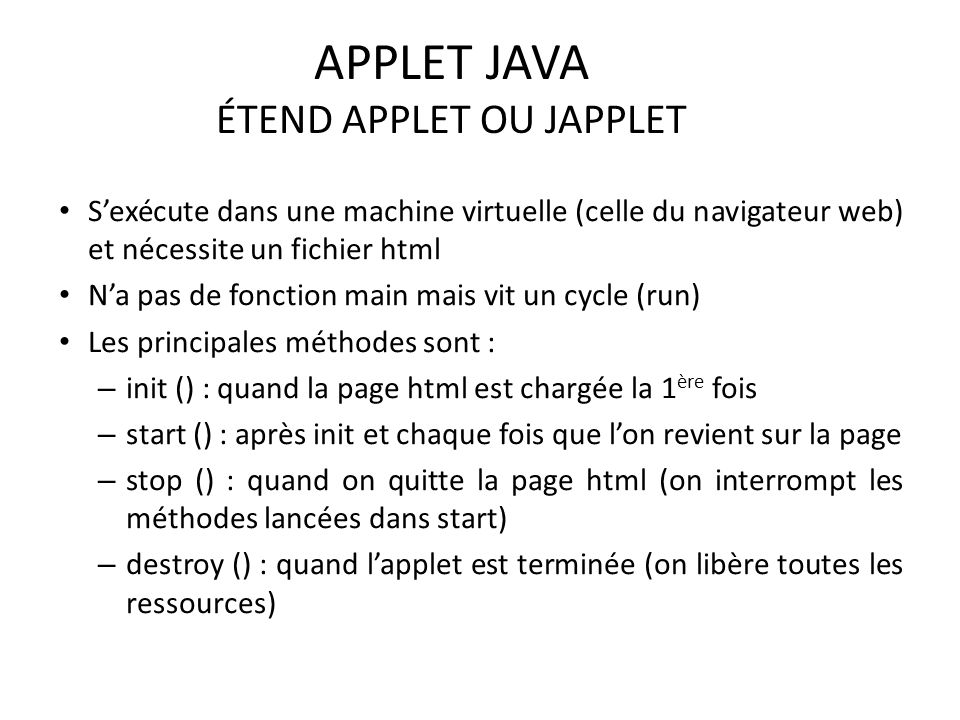 APPLET JAVA ÉTEND APPLET OU JAPPLET