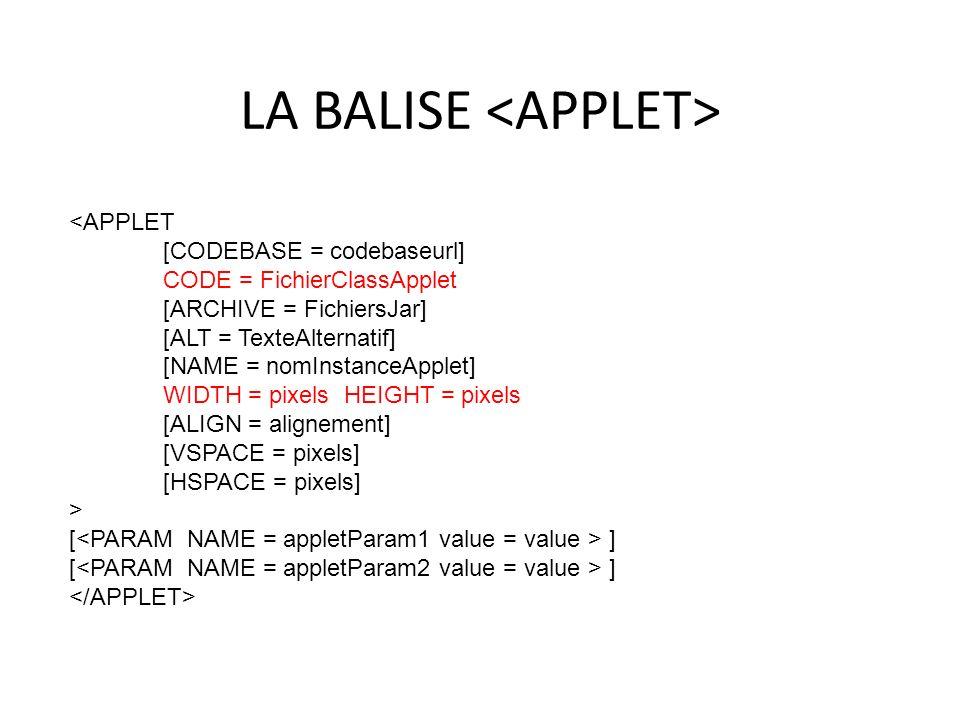 LA BALISE <APPLET>