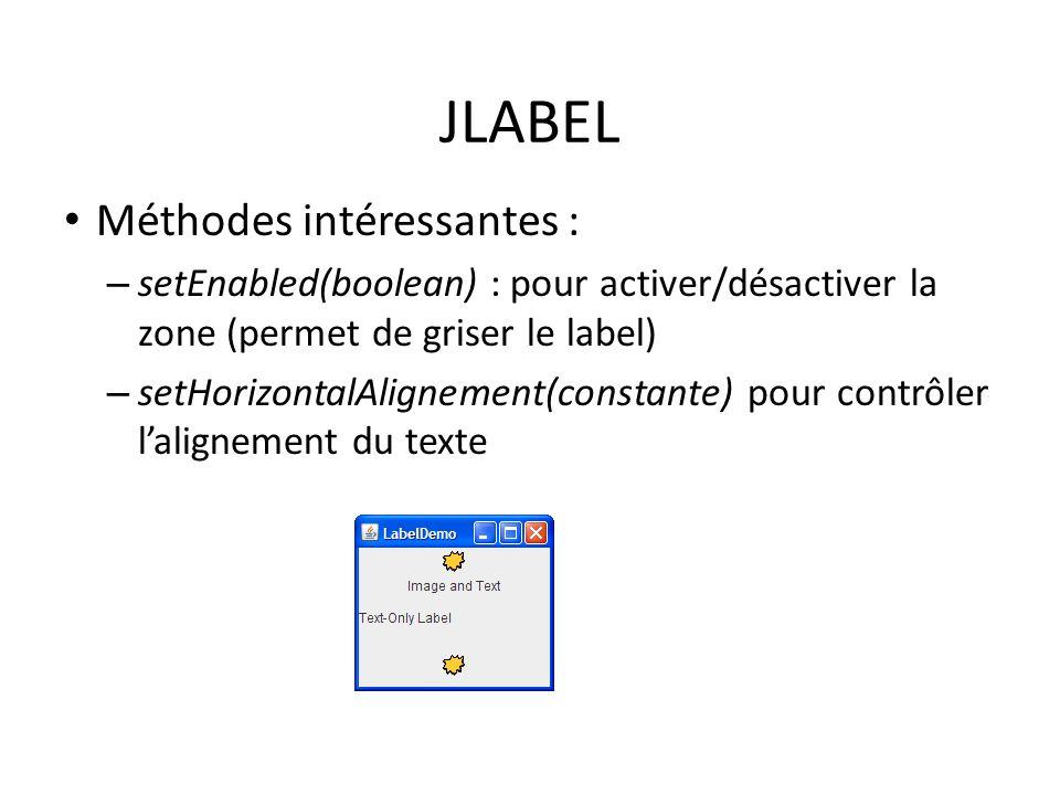 JLABEL Méthodes intéressantes :