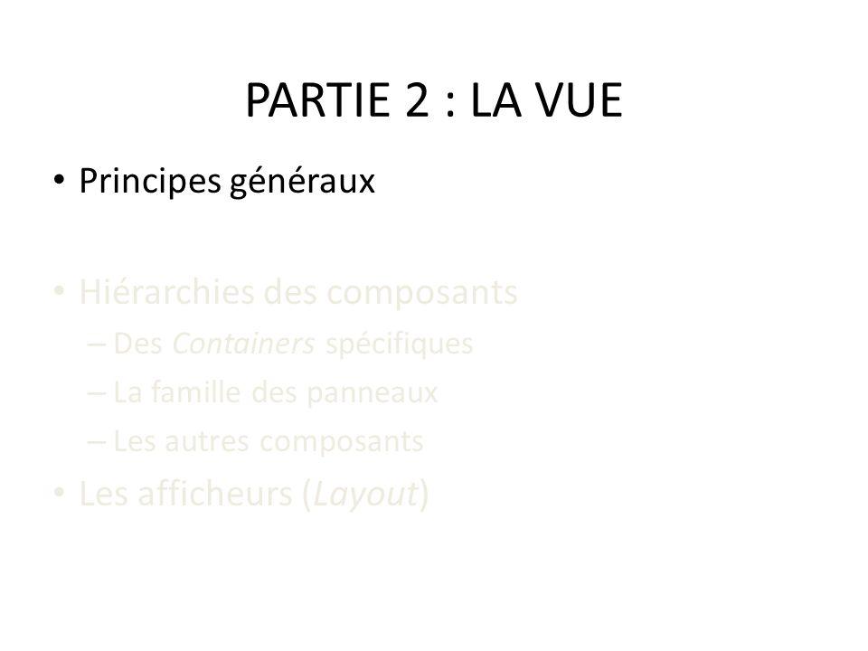 PARTIE 2 : LA VUE Principes généraux Hiérarchies des composants