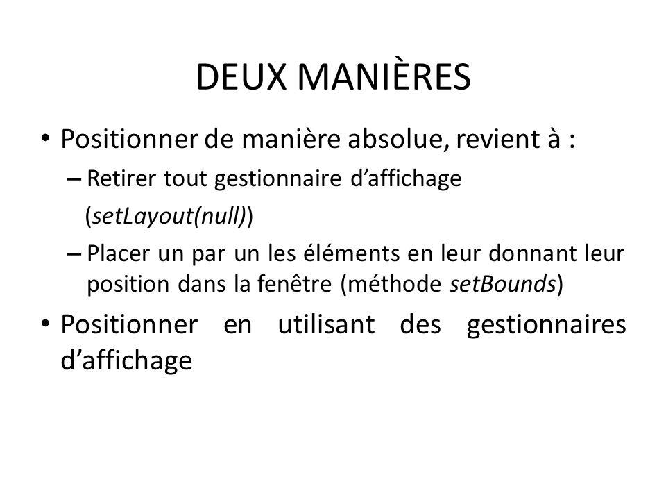DEUX MANIÈRES Positionner de manière absolue, revient à :