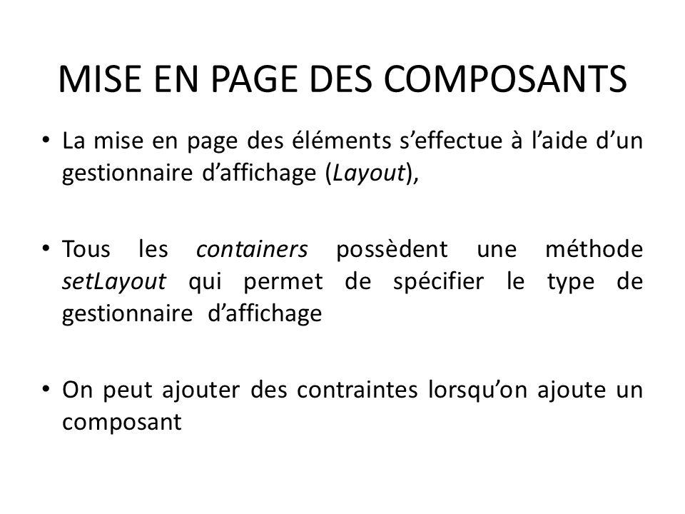 MISE EN PAGE DES COMPOSANTS