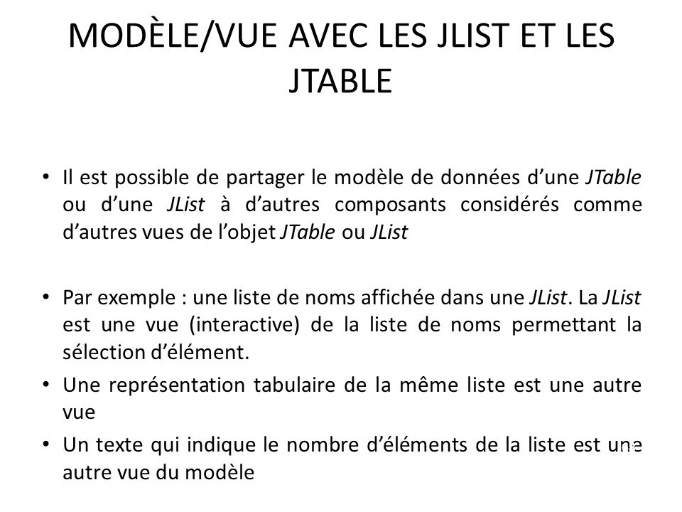MODÈLE/VUE AVEC LES JLIST ET LES JTABLE