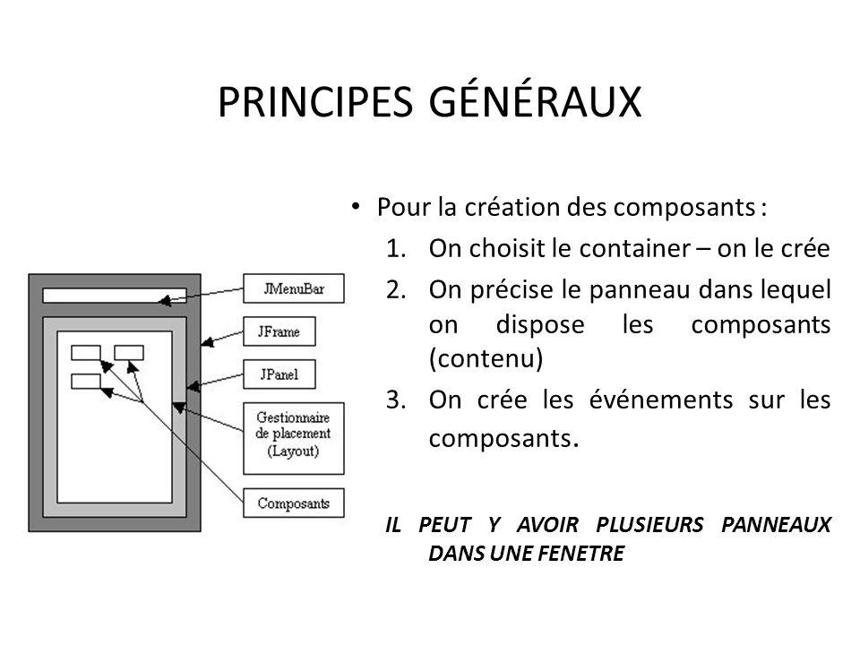 PRINCIPES GÉNÉRAUX Pour la création des composants :