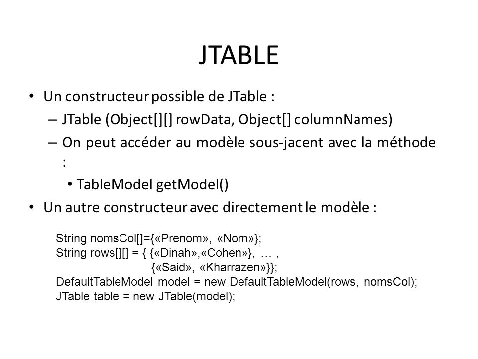 JTABLE Un constructeur possible de JTable :