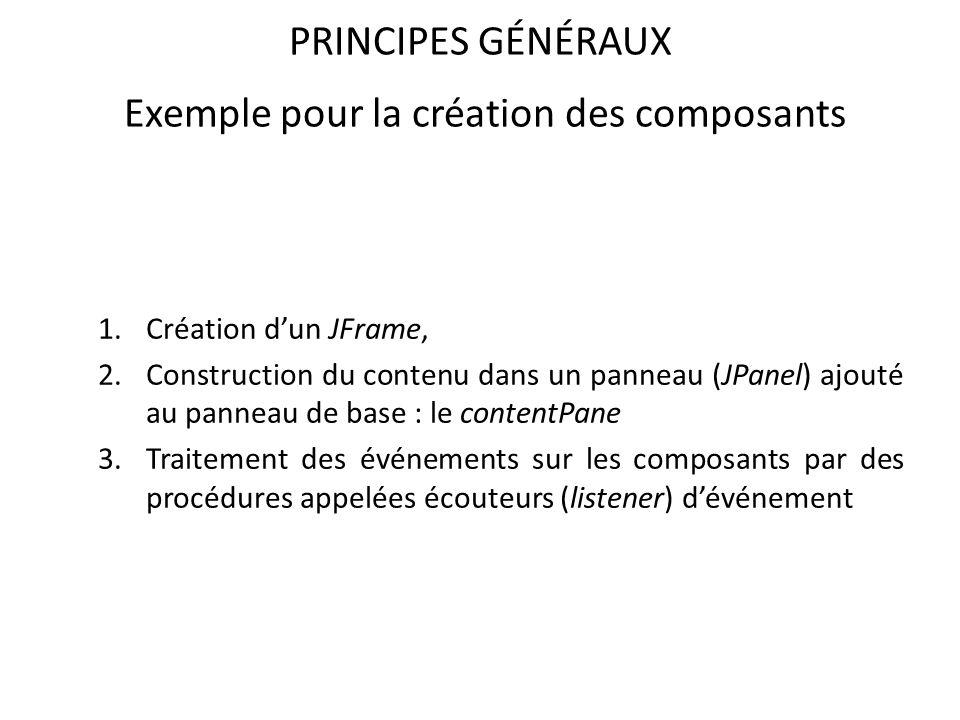 PRINCIPES GÉNÉRAUX Exemple pour la création des composants