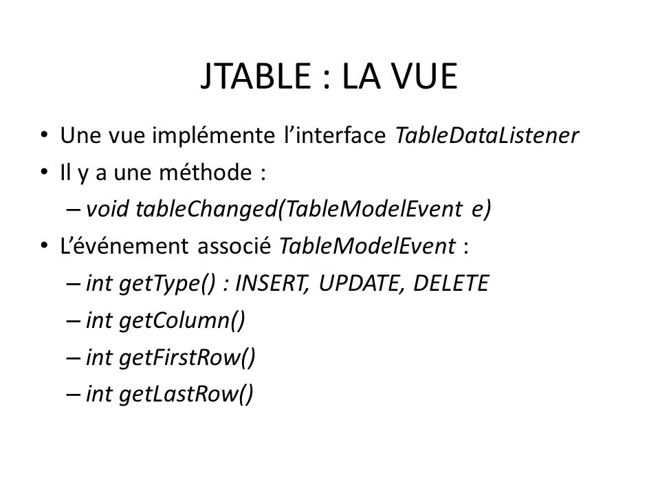 JTABLE : LA VUE Une vue implémente l'interface TableDataListener
