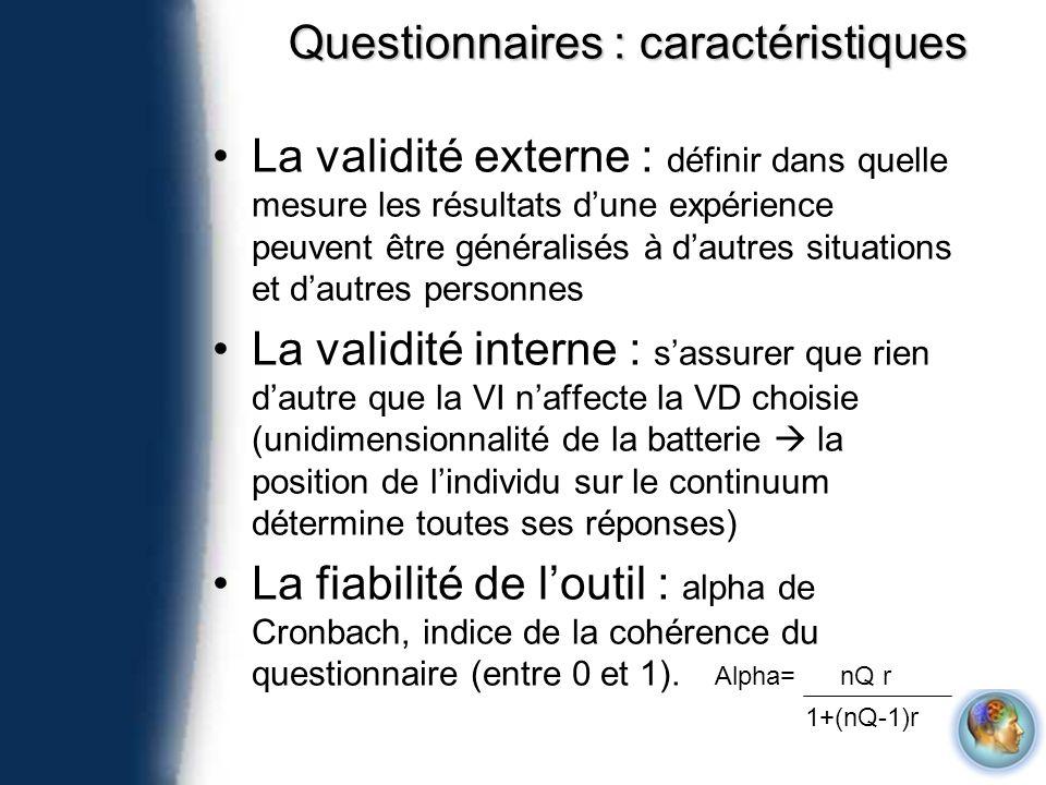 Questionnaires : caractéristiques