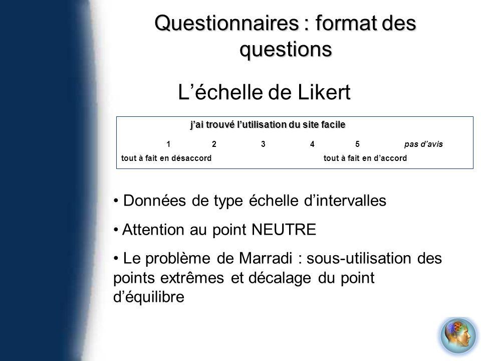 Questionnaires : format des questions