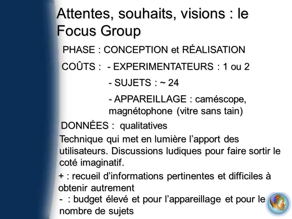 Attentes, souhaits, visions : le Focus Group