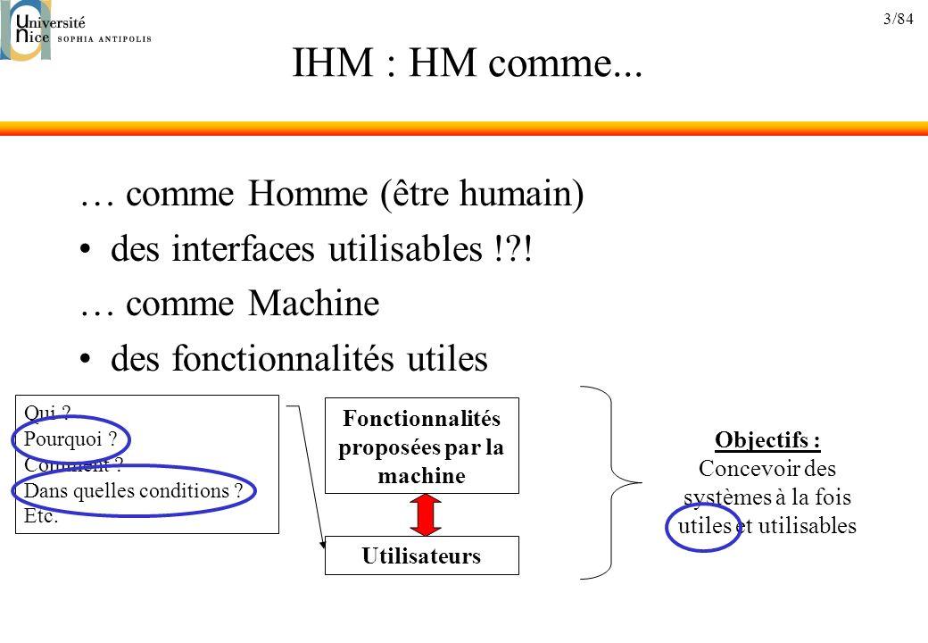 Fonctionnalités proposées par la machine