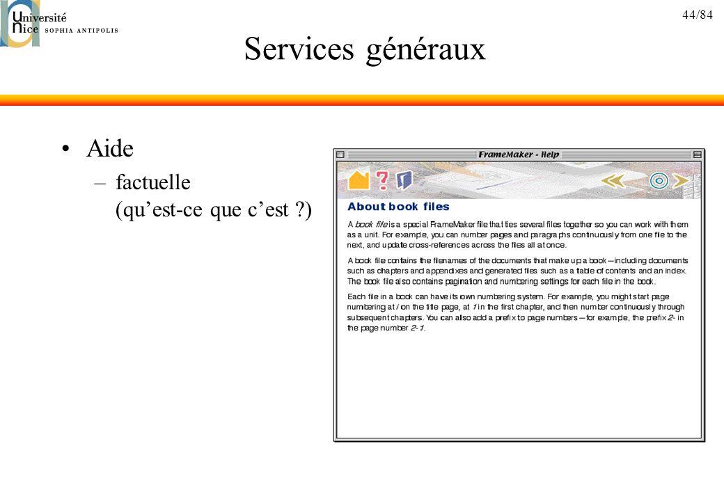 Services généraux Aide factuelle (qu'est-ce que c'est )