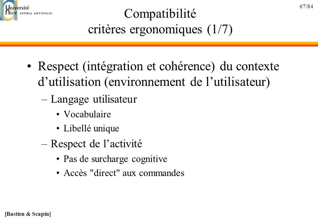 Compatibilité critères ergonomiques (1/7)
