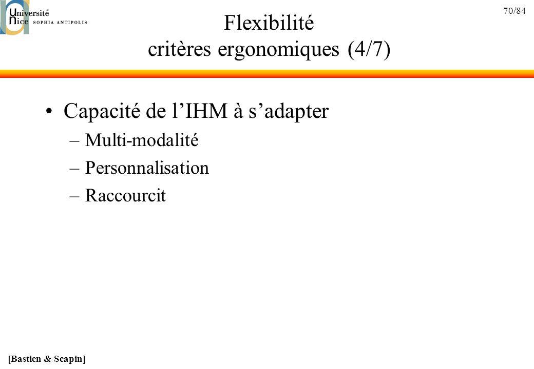 Flexibilité critères ergonomiques (4/7)