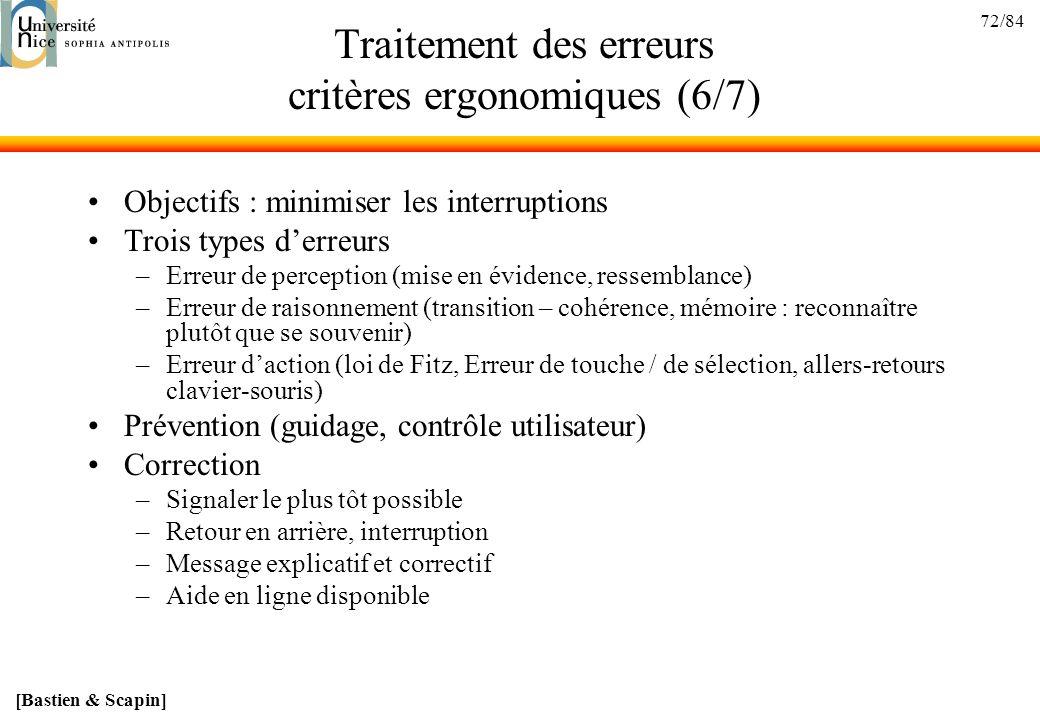 Traitement des erreurs critères ergonomiques (6/7)
